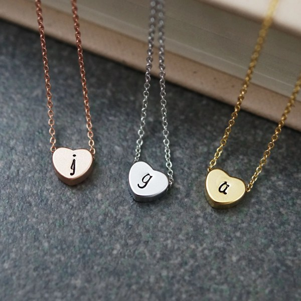 Dainty Heart Necklace Initial Personalized