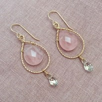 14k Gold Filled Teardrop Earrings with Rose Quartz and Swarovski Crystals
