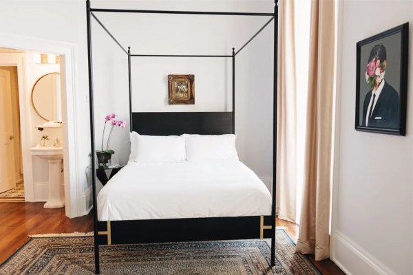 Josephine Bed Four Poster King Queen Black Iron Canopy