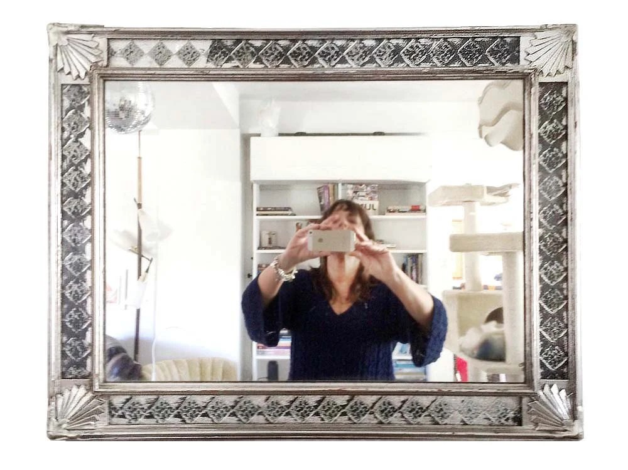 Art Deco Wall Mirror Silver Gilt Frame Foil Work Rectangular