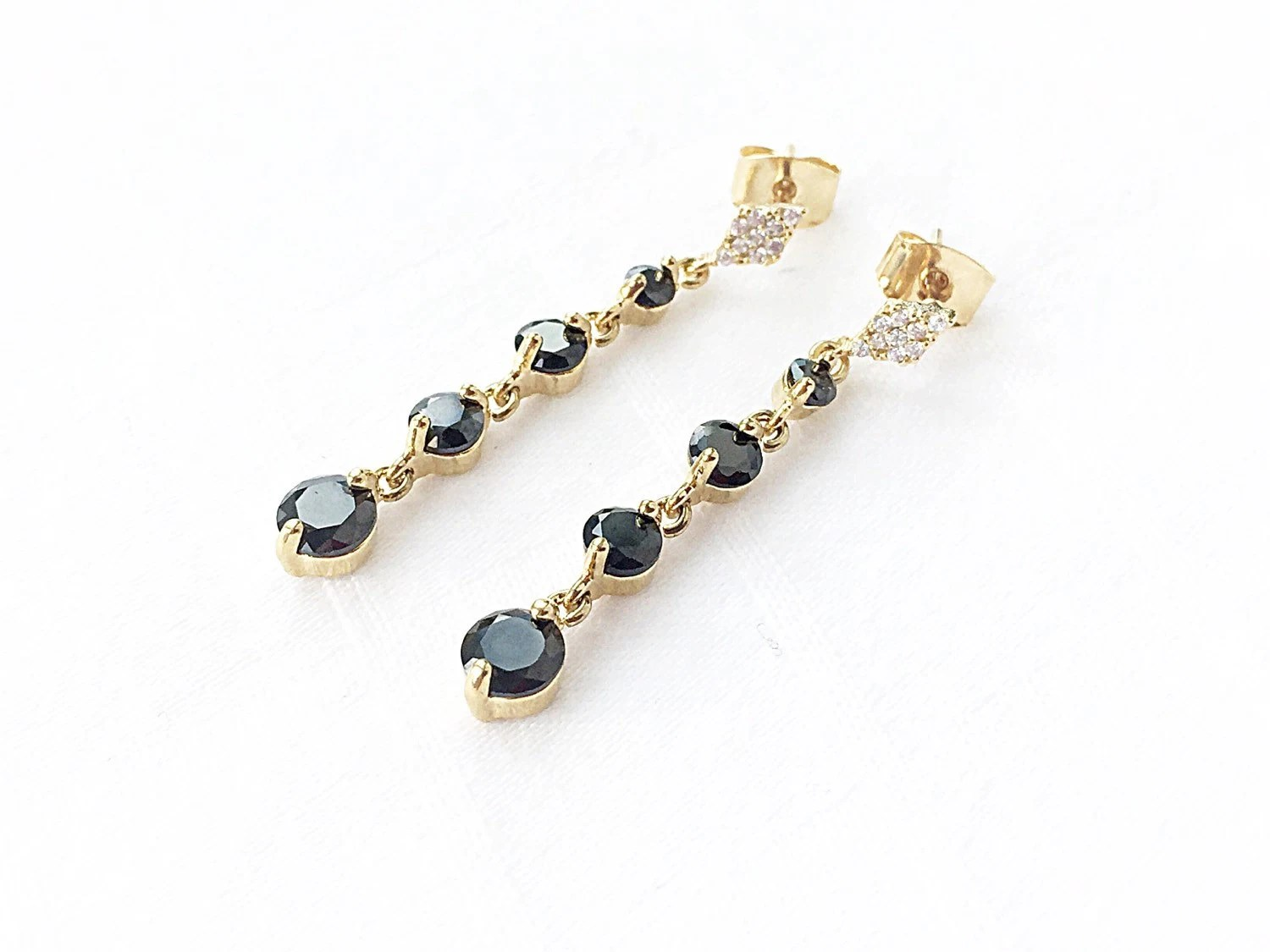 Long Earrings Black Earrings Gold Stud Earrings Dangle
