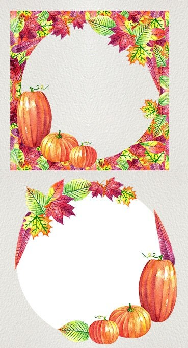 fall watercolor clipart hand painted
