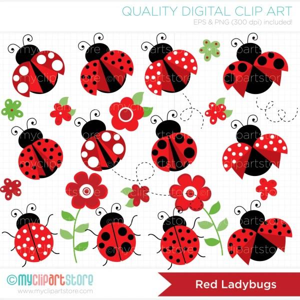 clipart pretty red ladybugs digital