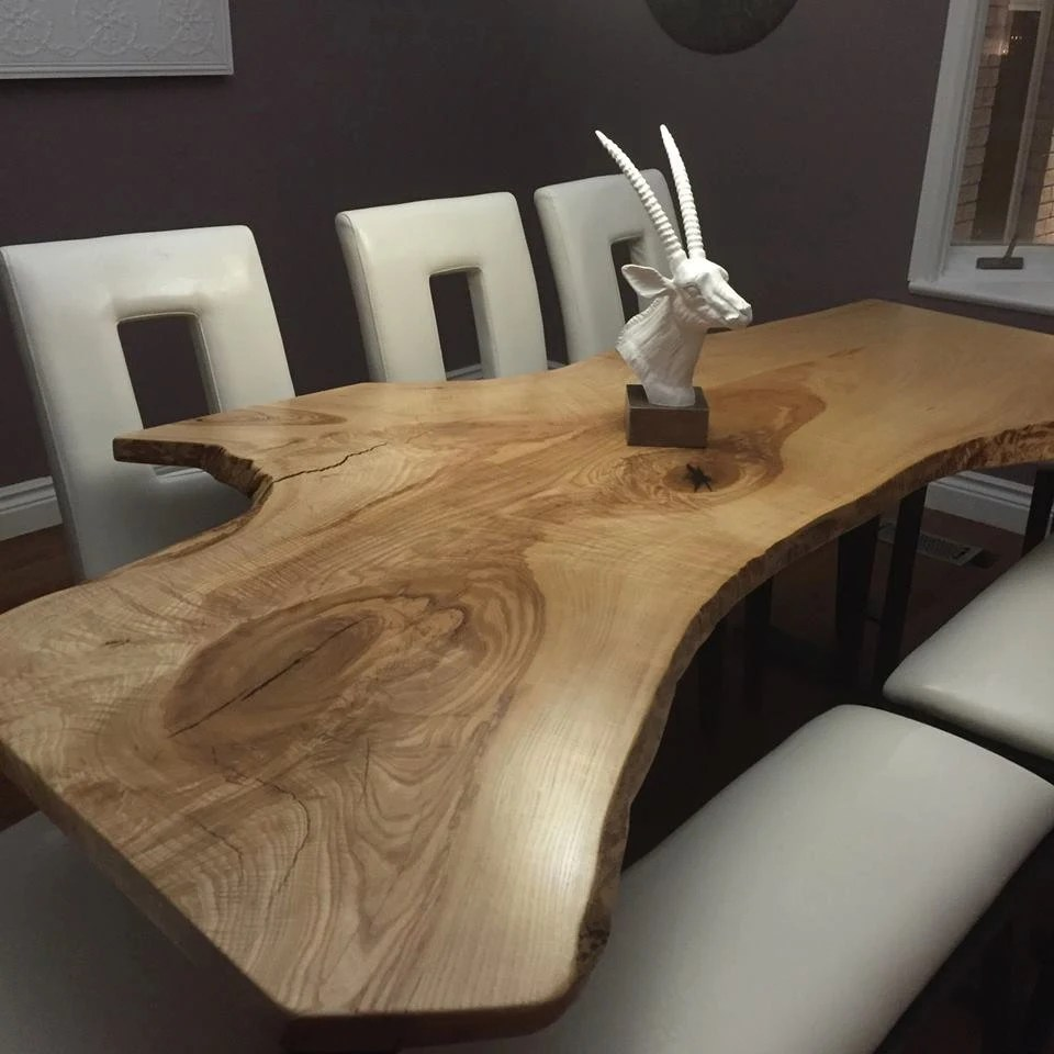 Live Edge Single Slab Curly Ash Harvest Table Dining Table