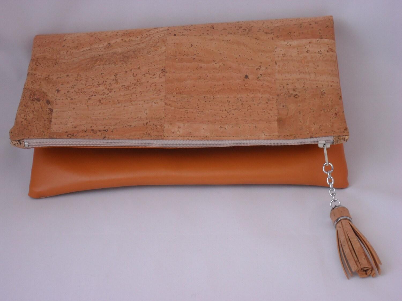 Cork Foldover Clutch Bag Vegan Leather Handbag Cork And