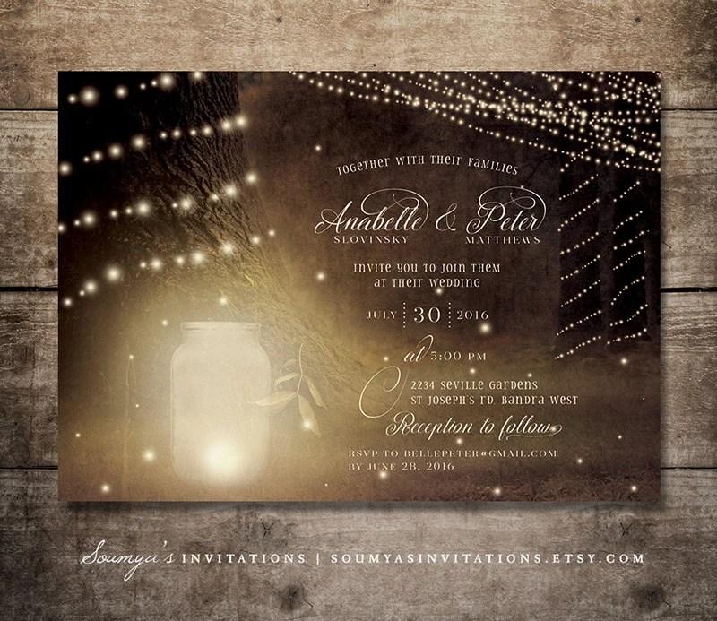 Rustic Mason Jar Firefly Wedding Invitation Forest String