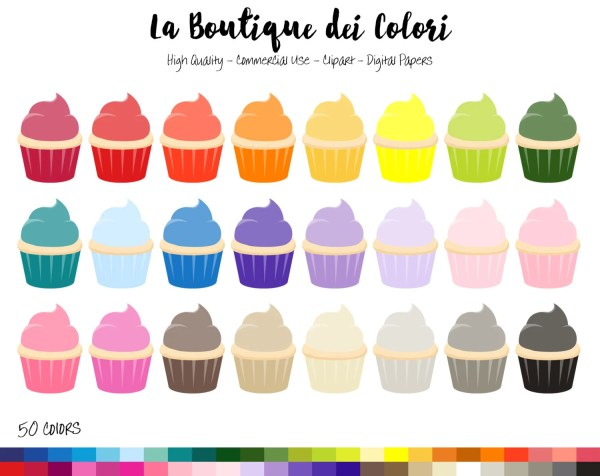 rainbow cupcake clip art colorful