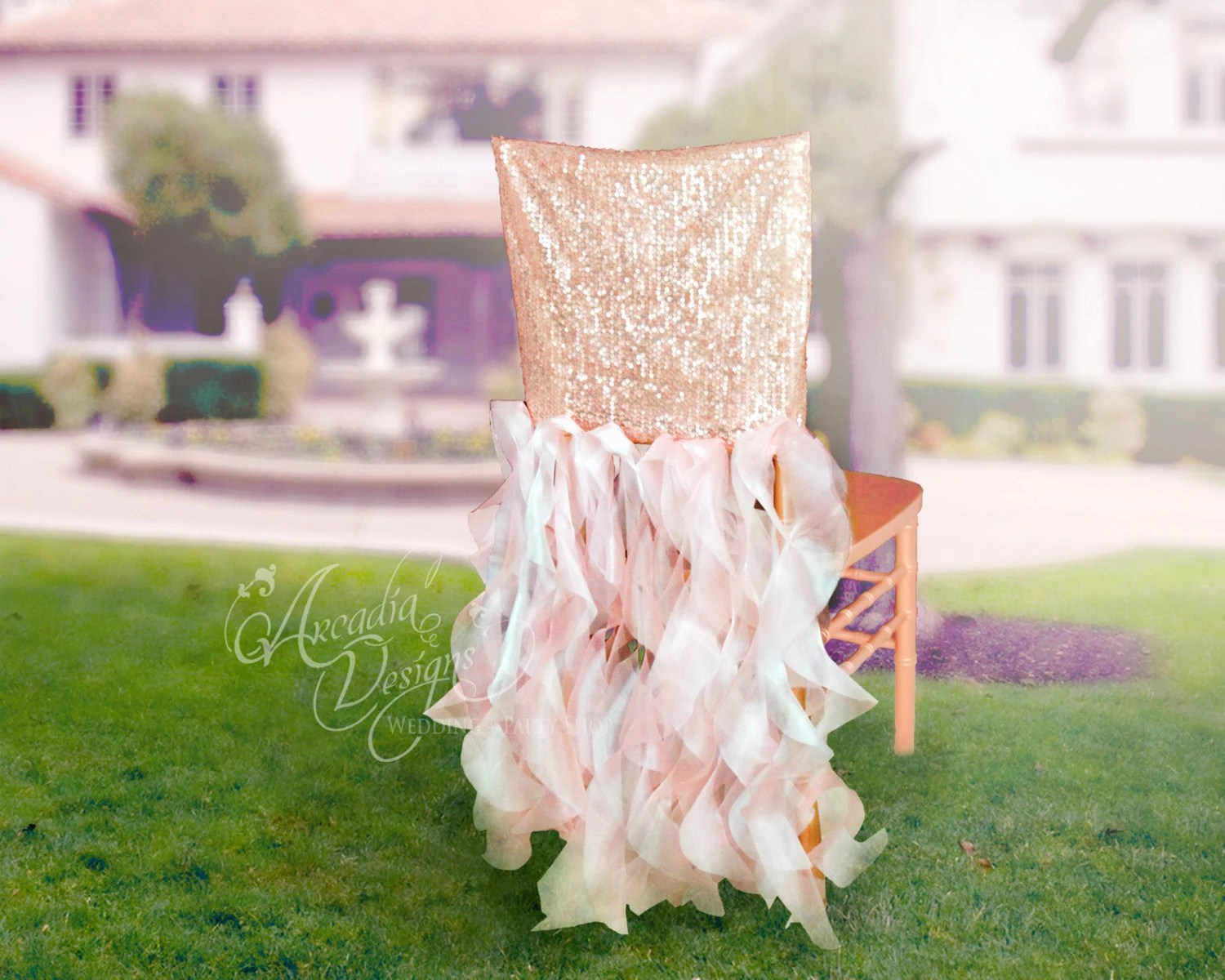 rose gold satin chair sashes for office without wheels bridal cover wedding sequin ruffle