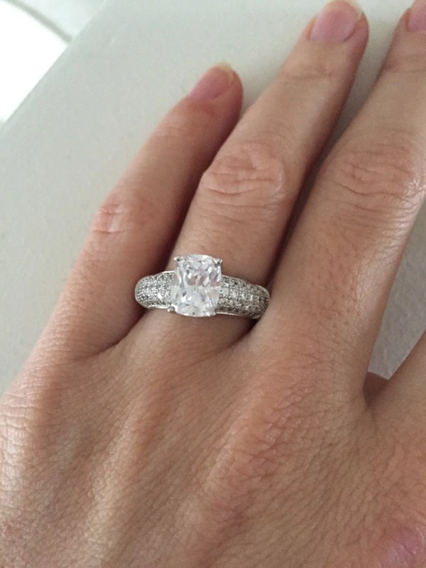 Cushion Cut Engagement Ring Thick Band Solitaire