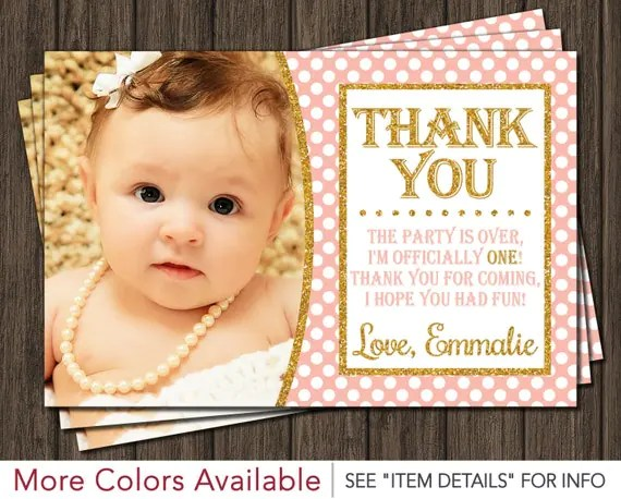 First Birthday Thank You Card Peach Pink And Gold By