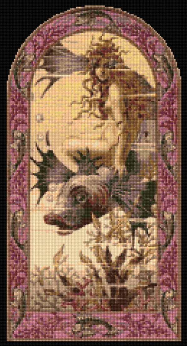 Art Nouveau Mermaid 1890s Cross Stitch Pattern Pdf Easy