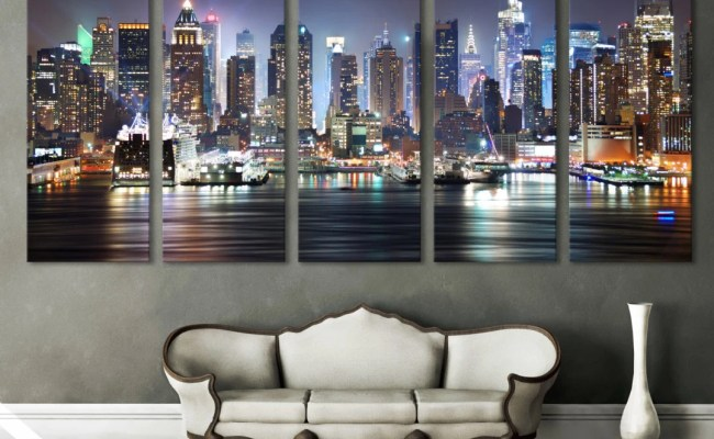 New York Cityscape Canvas Print Wall Art Multi Panel By