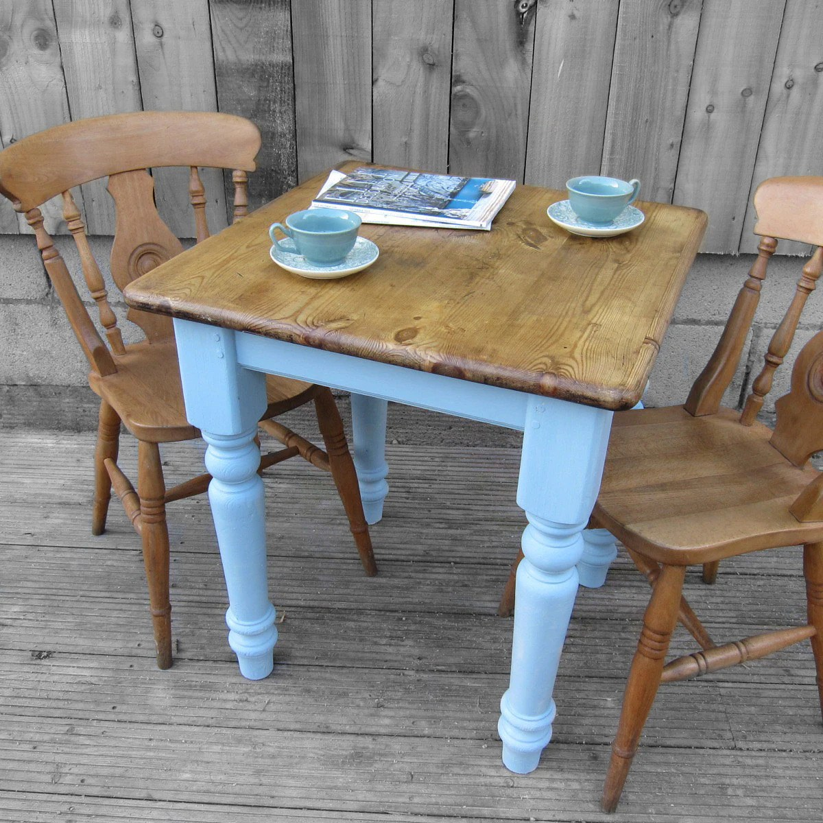 Small Square Kitchen Table: Vintage Old Traditional Painted Farrow & Ball Lulworth