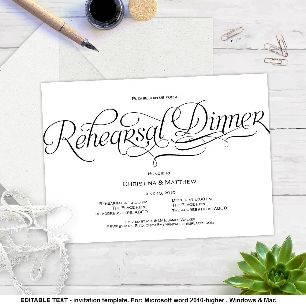 Printable Invitation Templates Rehearsal Dinner DIY
