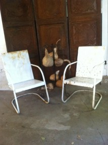 Metal Garden Chairs Bounce Chair Vintage Chippy White Paint