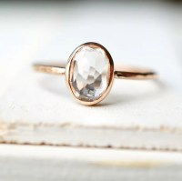 Dainty Gold Ring Engagement Ring White Topaz Ring Yellow ...