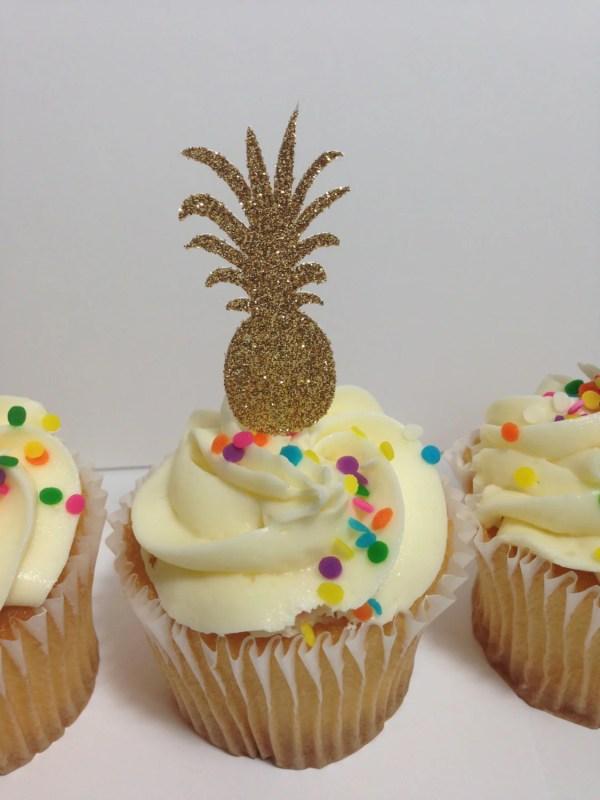 Pineapple Cupcake Toppers Luau Glitter Decorations Hawaiian