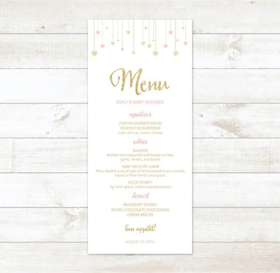 Baby Shower Menu Pink Gold Shower Menu Gold by