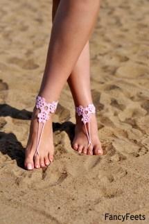 Crochet Light Pink Barefoot Sandals Beach Shoes Foot