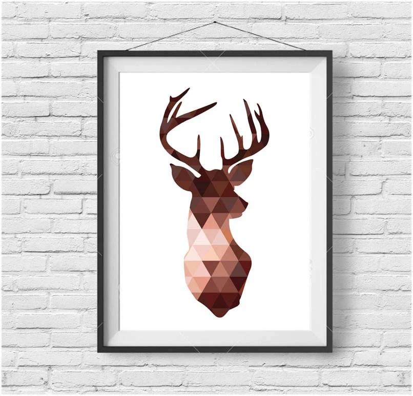 Copper Deer Head Print Brown Deer Wall Art Triangle Deer
