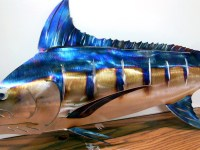 Blue Marlin Metal Art Wall Sculpture in Stainless or