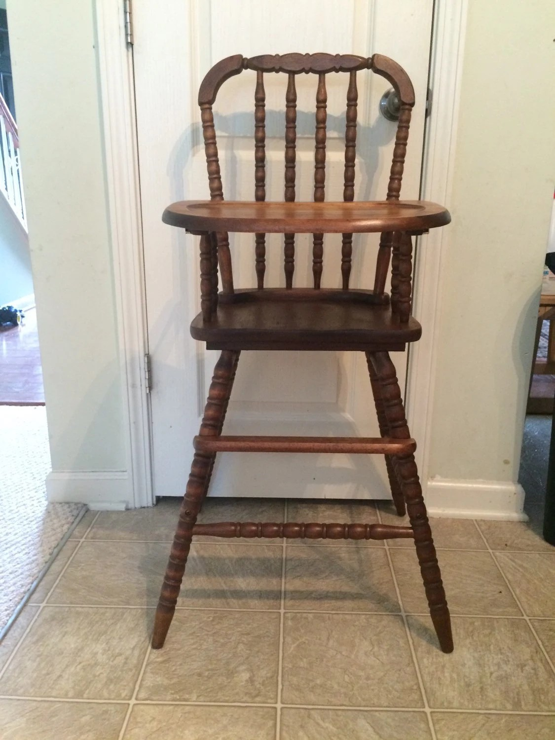 Wooden High Chair Vintage Wooden High Chair Jenny Lind Antique High Chair
