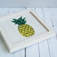Pineapple print Framed picture Wood wall art by ...