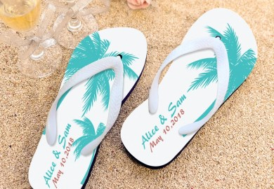 Bride And Groom Flip Flops
