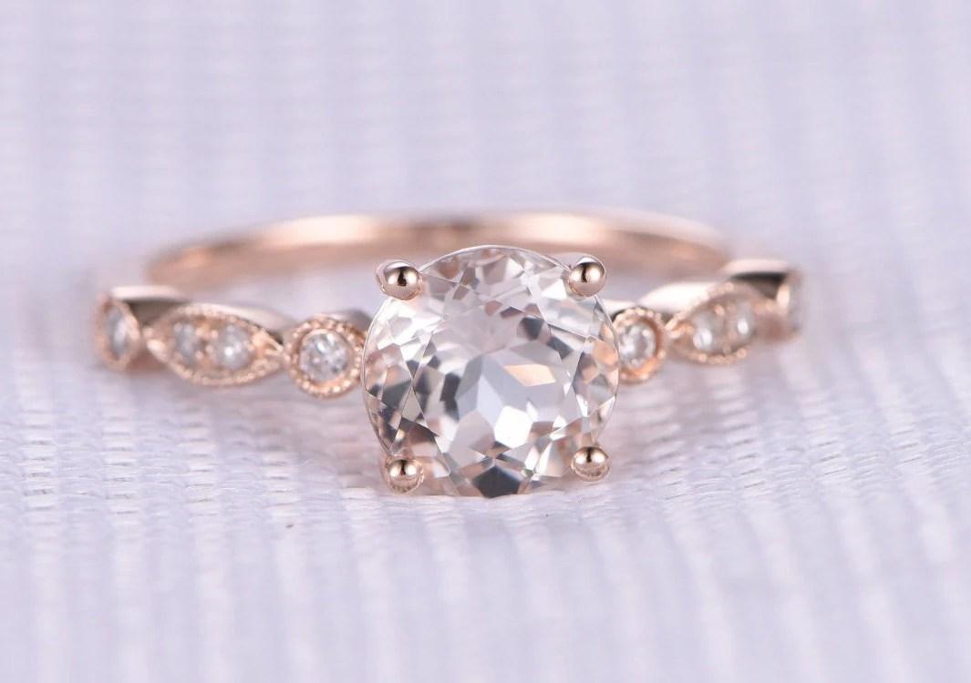 Pink Morganite Engagement Ring14k Rose Gold65mm Round Cut