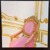 Pink and Gold Baroque Chair Original Oil by zouzousbasement