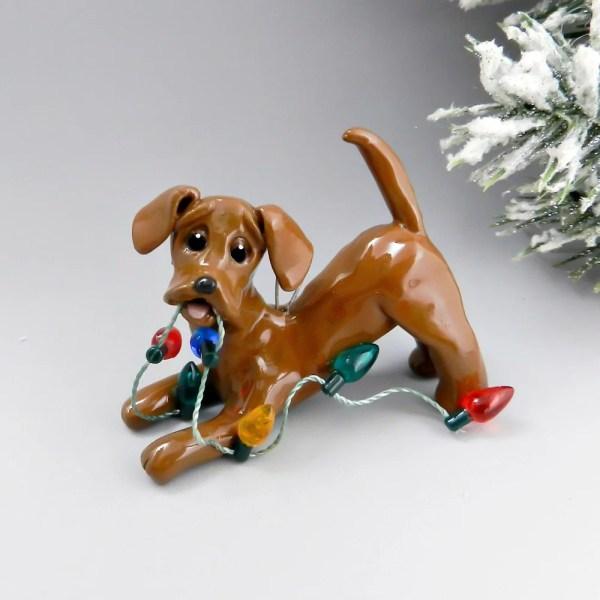 Dachshund Red Christmas Ornament Figurine Lights Porcelain