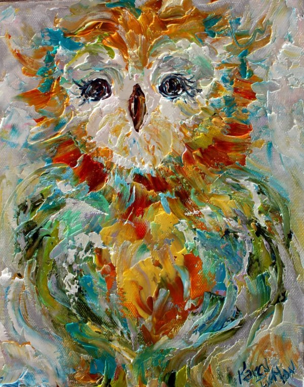 Owl Painting Original Oil Abstract Impressionism Fine Art