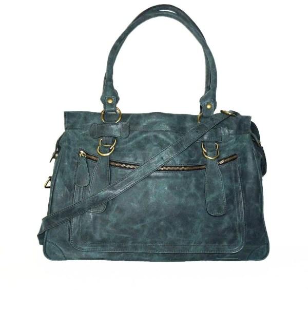 Distressed Leather Handbag Tote Cross-body Bag Rina