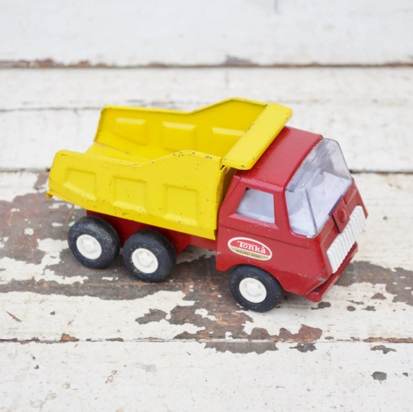 Vintage Mini Tonka Dump Truck Red Yellow Metal Toy Pressed