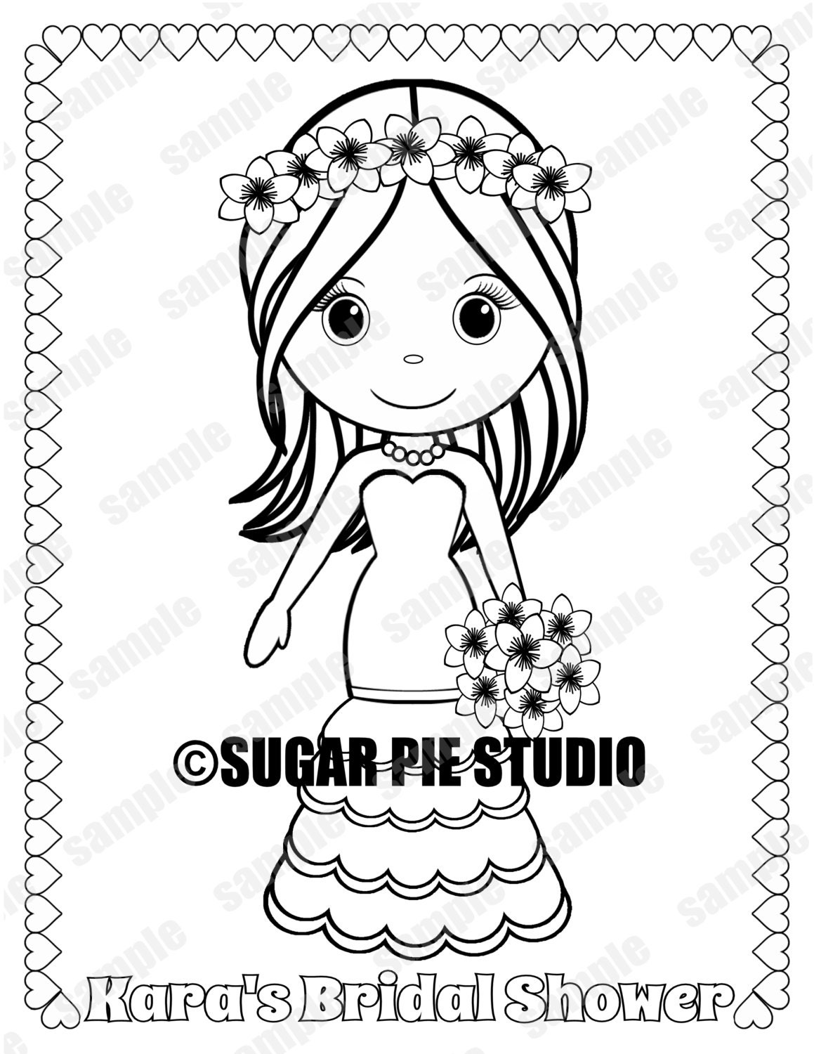 Bridal Shower Coloring Page Party Favor Childrens Kids