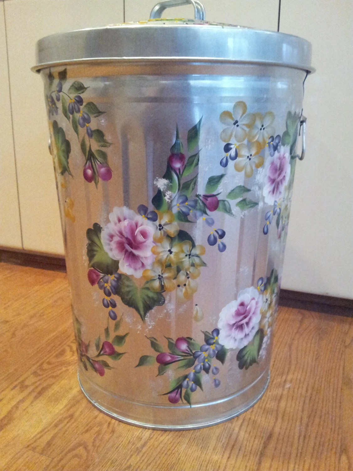 13 gallon kitchen trash can countertops cheap 20 hand painted galvanized