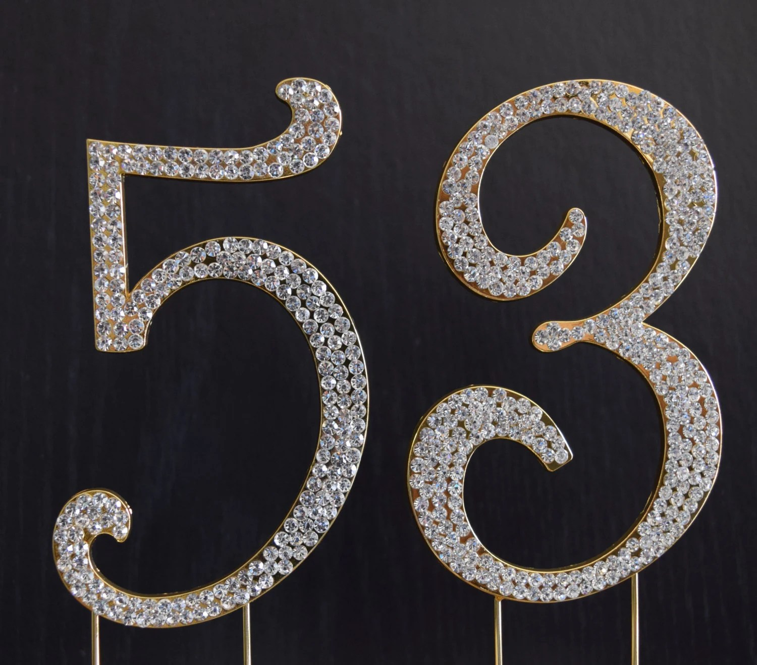 Rhinestone Gold Number 53 Cake Topper 53rd Birthday Party