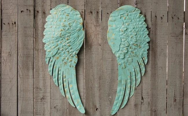 Angel Wings Wall Decor Shabby Chic Aqua Gold Hand