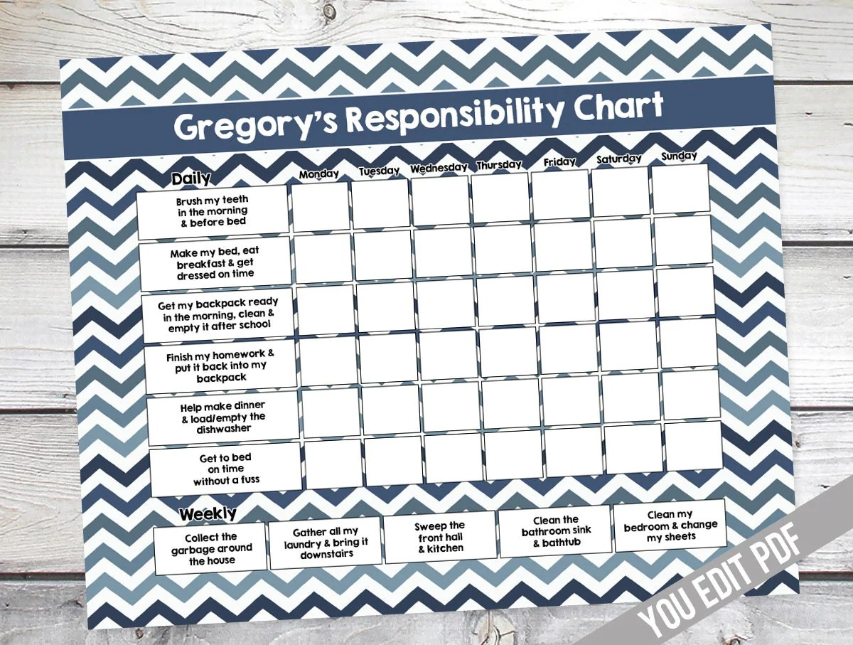 Chore Chart For Kids Teen Reward Chart Responsibility