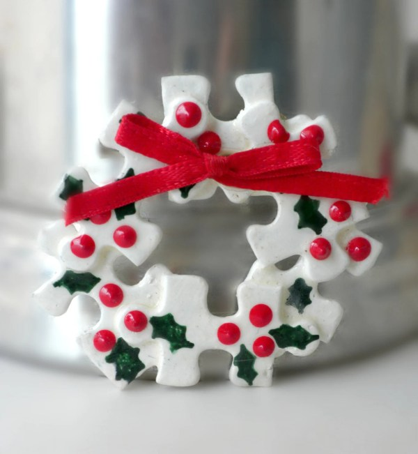 Christmas Wreath Brooch Puzzle Piece Jewelry