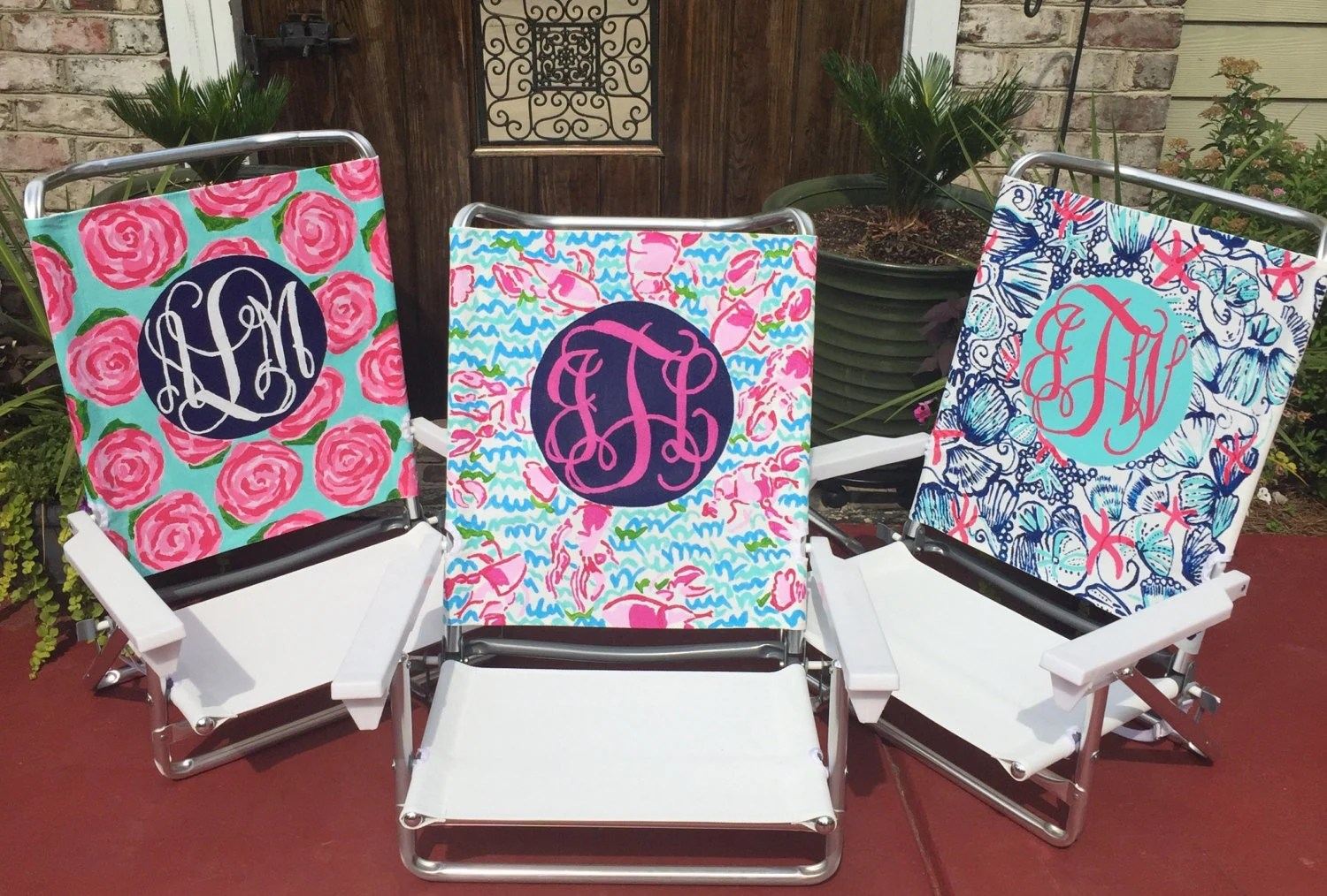 lilly pulitzer chair vibrating cushion hand painted inspired monogram beach
