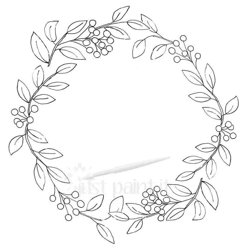 Leaf and Berry Fall Wreath Coloring Page Fall Coloring