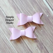 pink faux leather hair bows 2 1