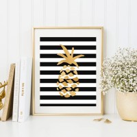 Gold pineapple wall art ananas wall decor gold foil by ...