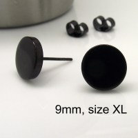 Mens Stud Earrings 9mm Disc Fake Plug Stud Earrings Fake