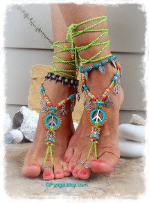 Neon Lotus Peace Sign Barefoot Sandals Symbol Love Mojo