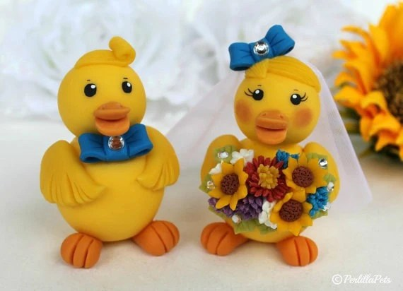 Duck wedding cake topper rubber ducky bride and by PerlillaPets
