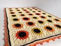 Sunflower baby blanket crocheted cotton blanket summer
