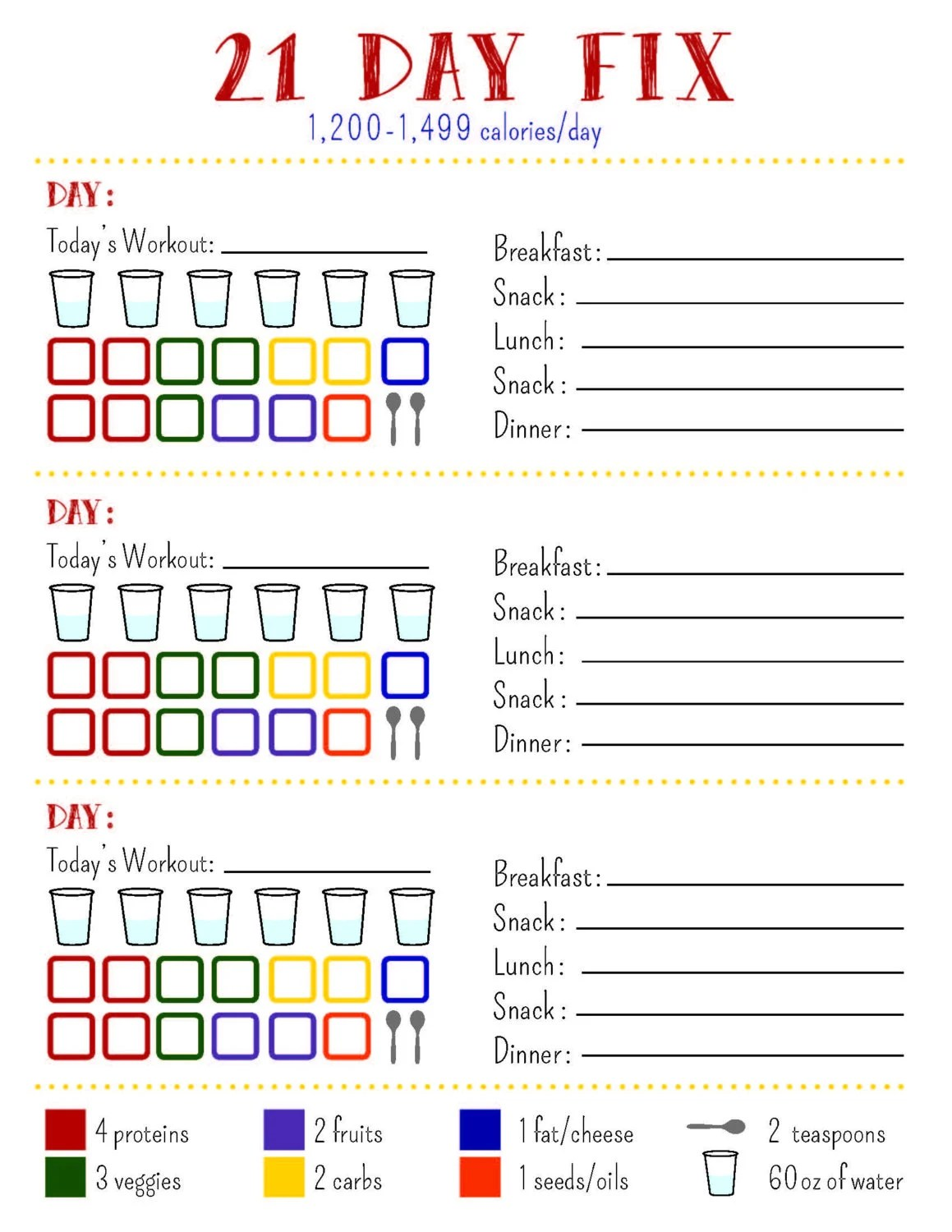 21 Day Fix Tracking Sheet Calorie By Allisonrainsdesigns
