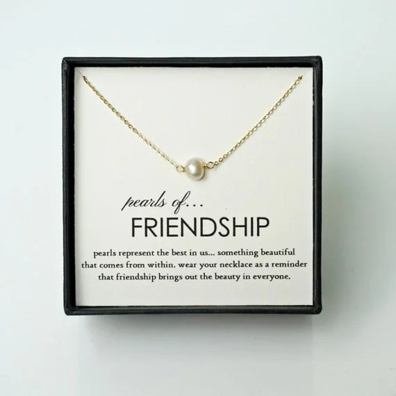 Friendship Gift - Single Pearl Gold Friendship Necklace